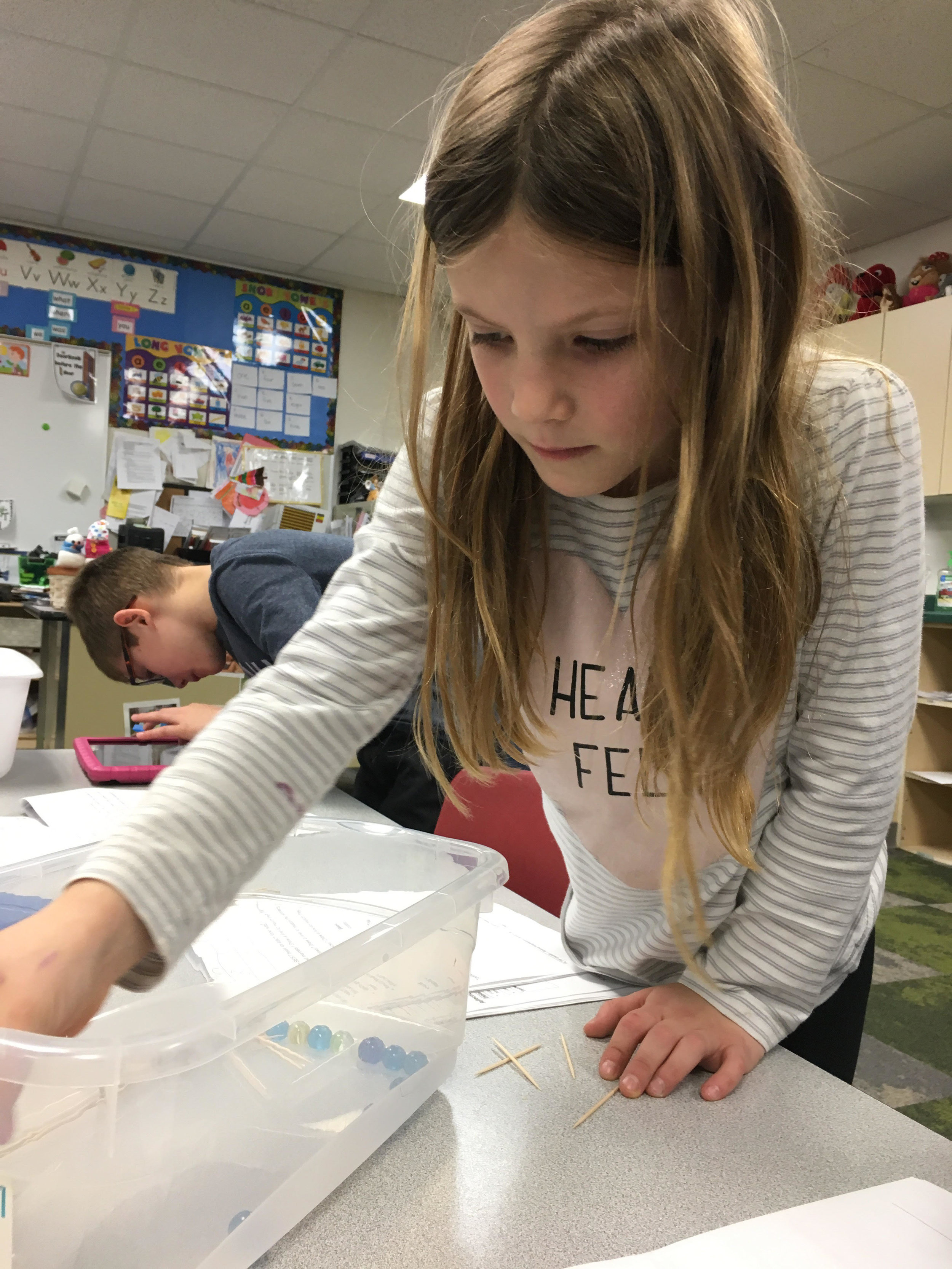 """using tools to act as a """"beak"""" to pick up different objects."""