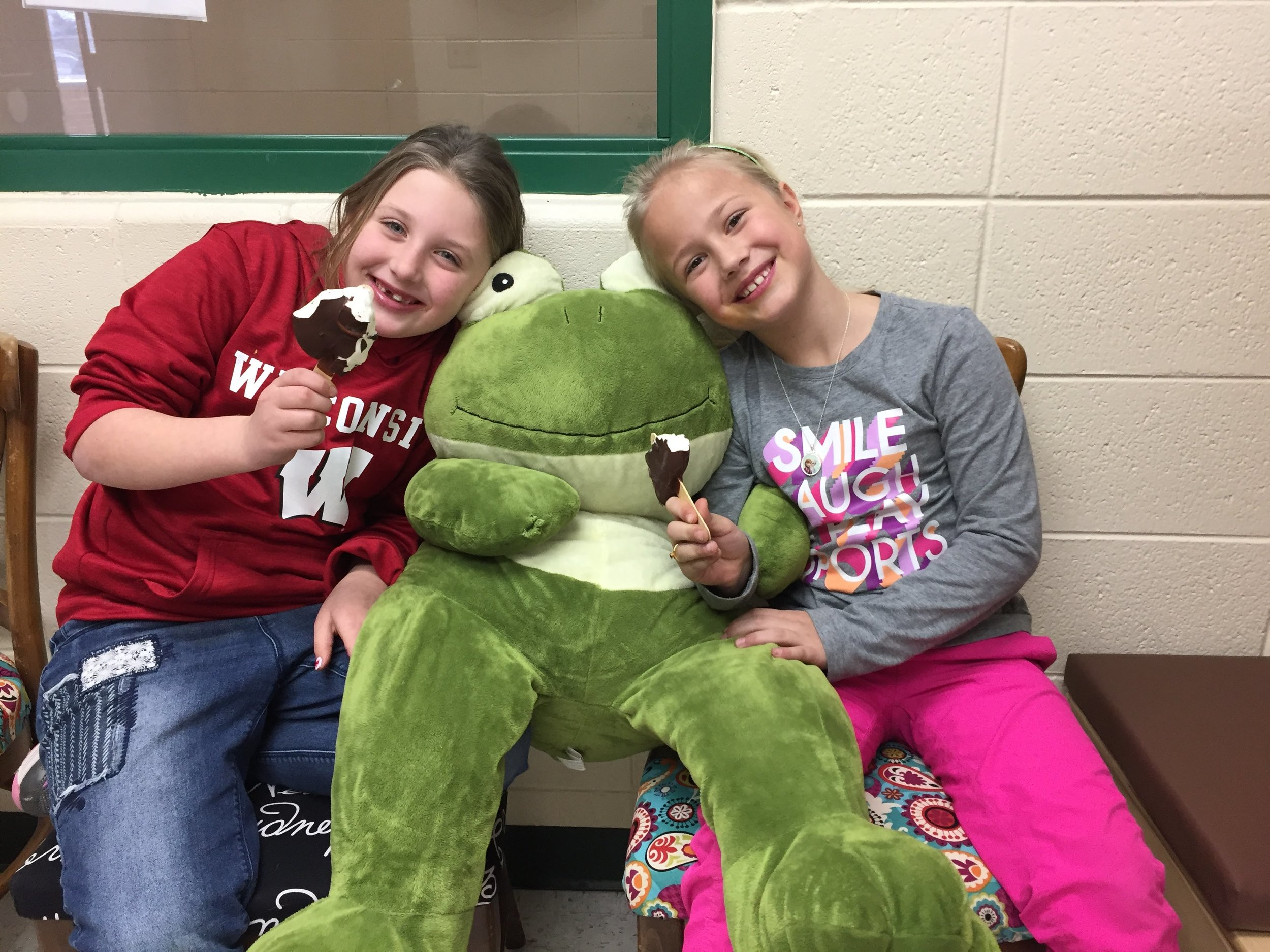 "January PBIS Assembly ""Dessert with a Friend"" Winners enjoying their DQ Treat!"