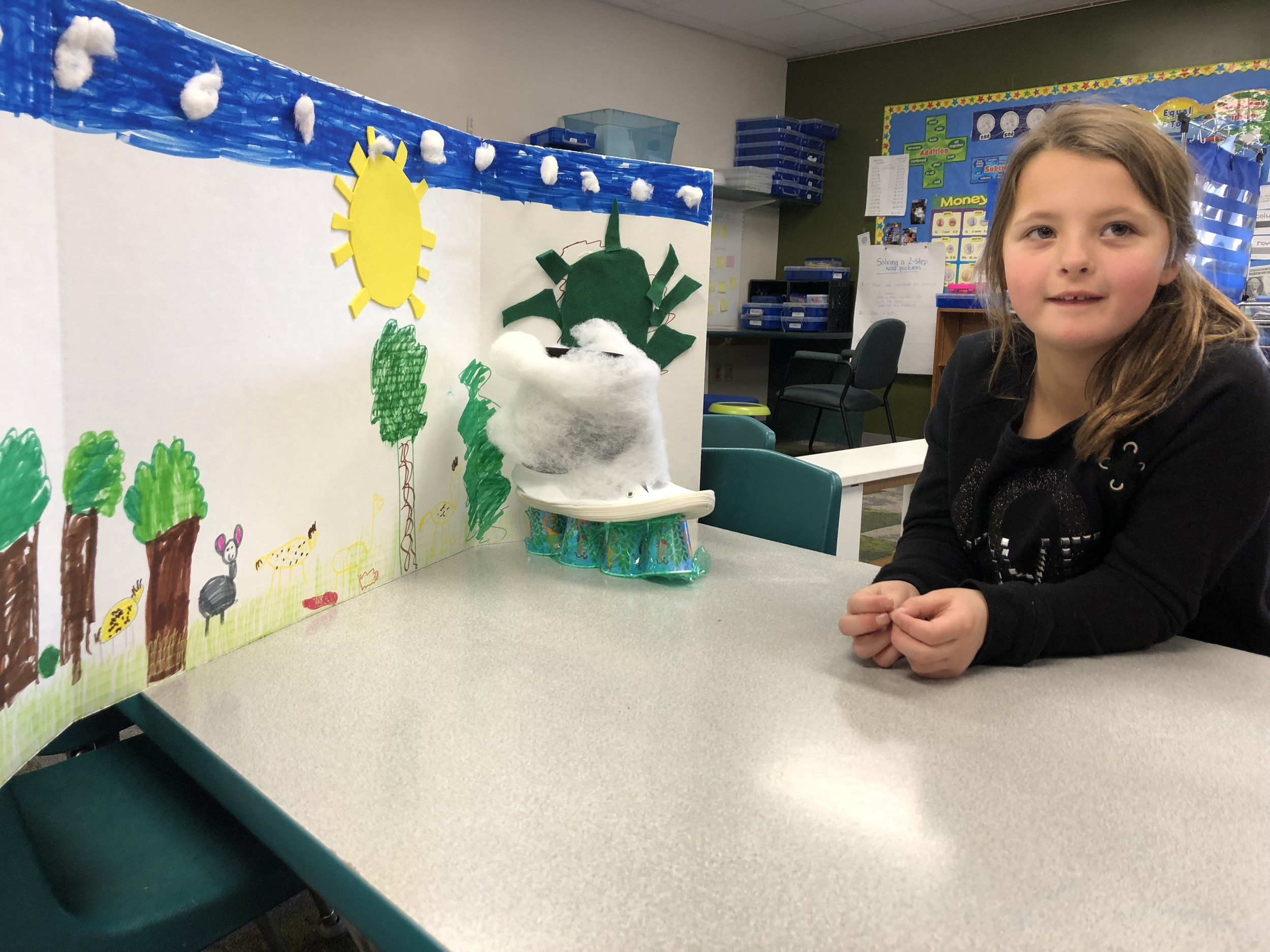 showing her project on the rainforest