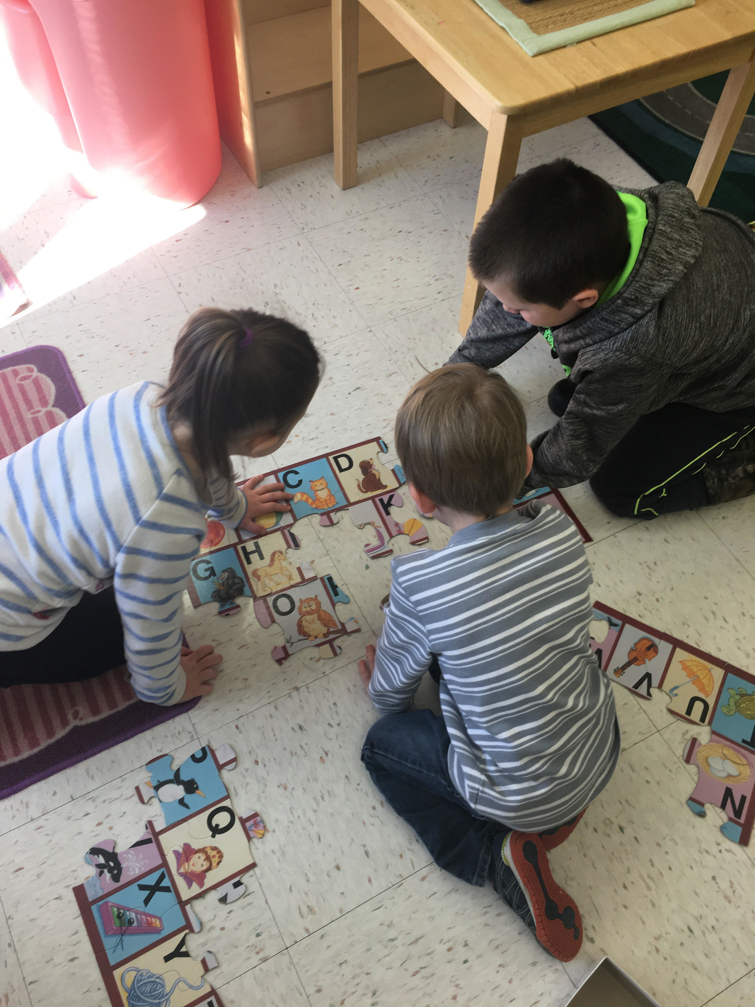 working together on a puzzle