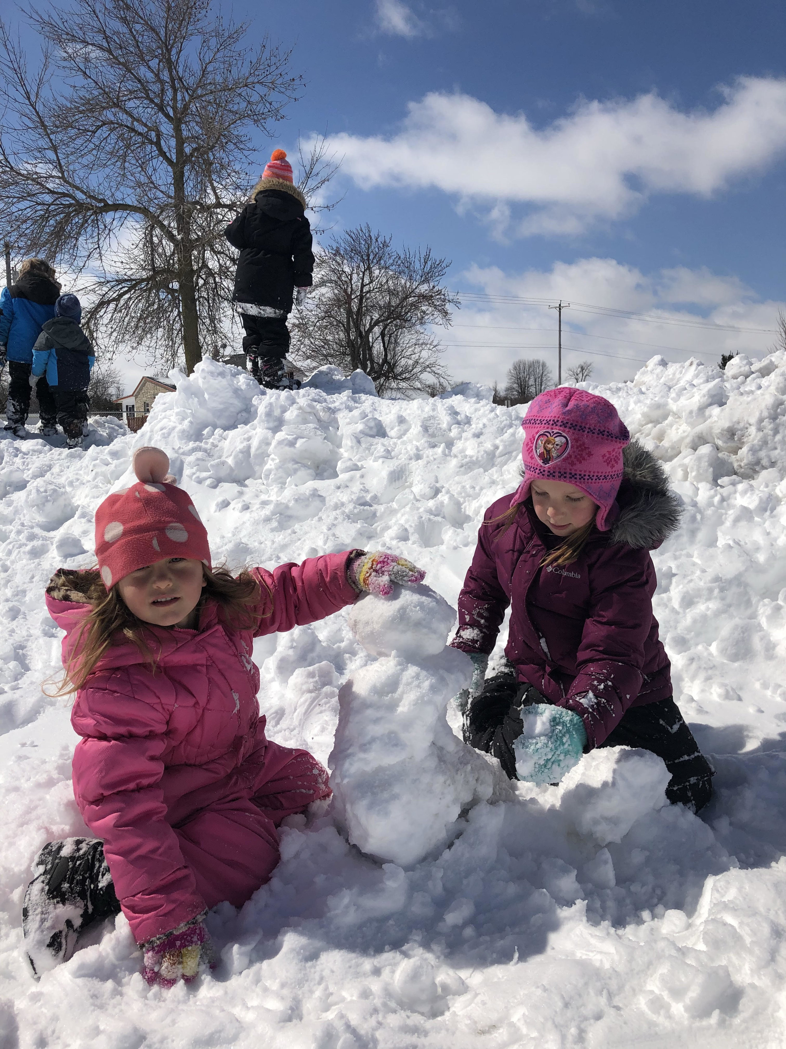 Who ever thought the kids would be builiding snowmen in April!?