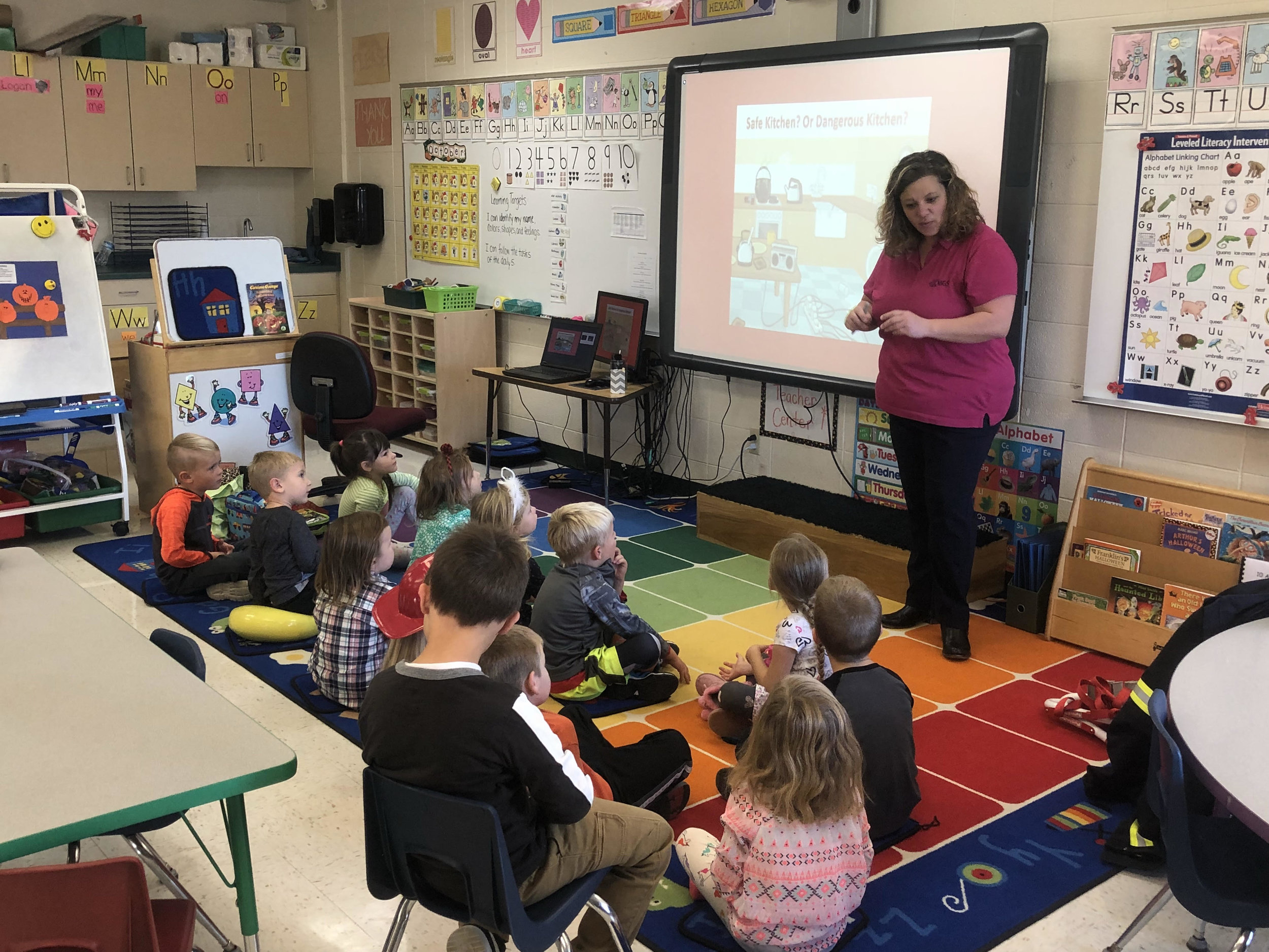Mrs. Herman taught the class about fire safety