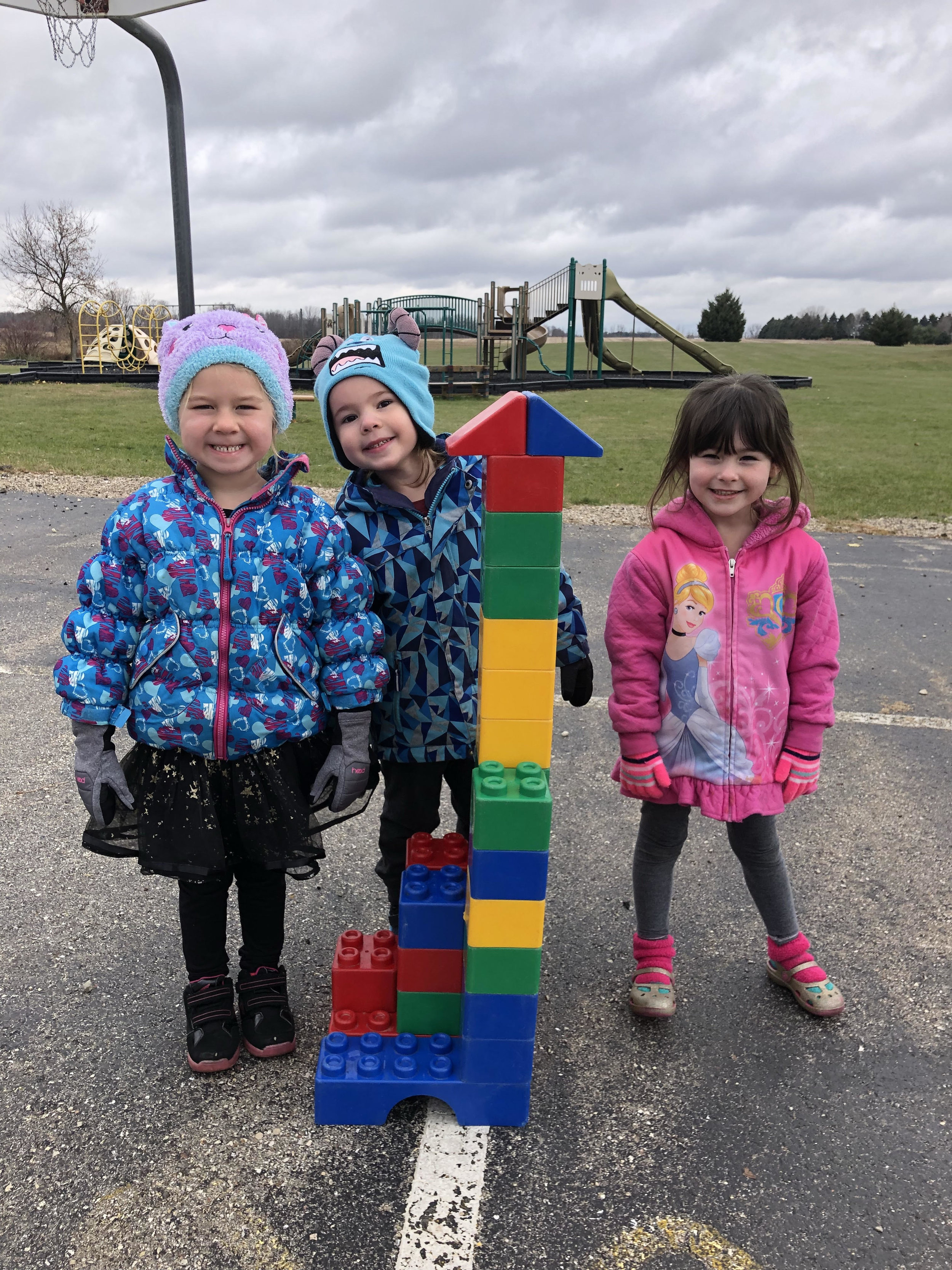 building with blocks at recess