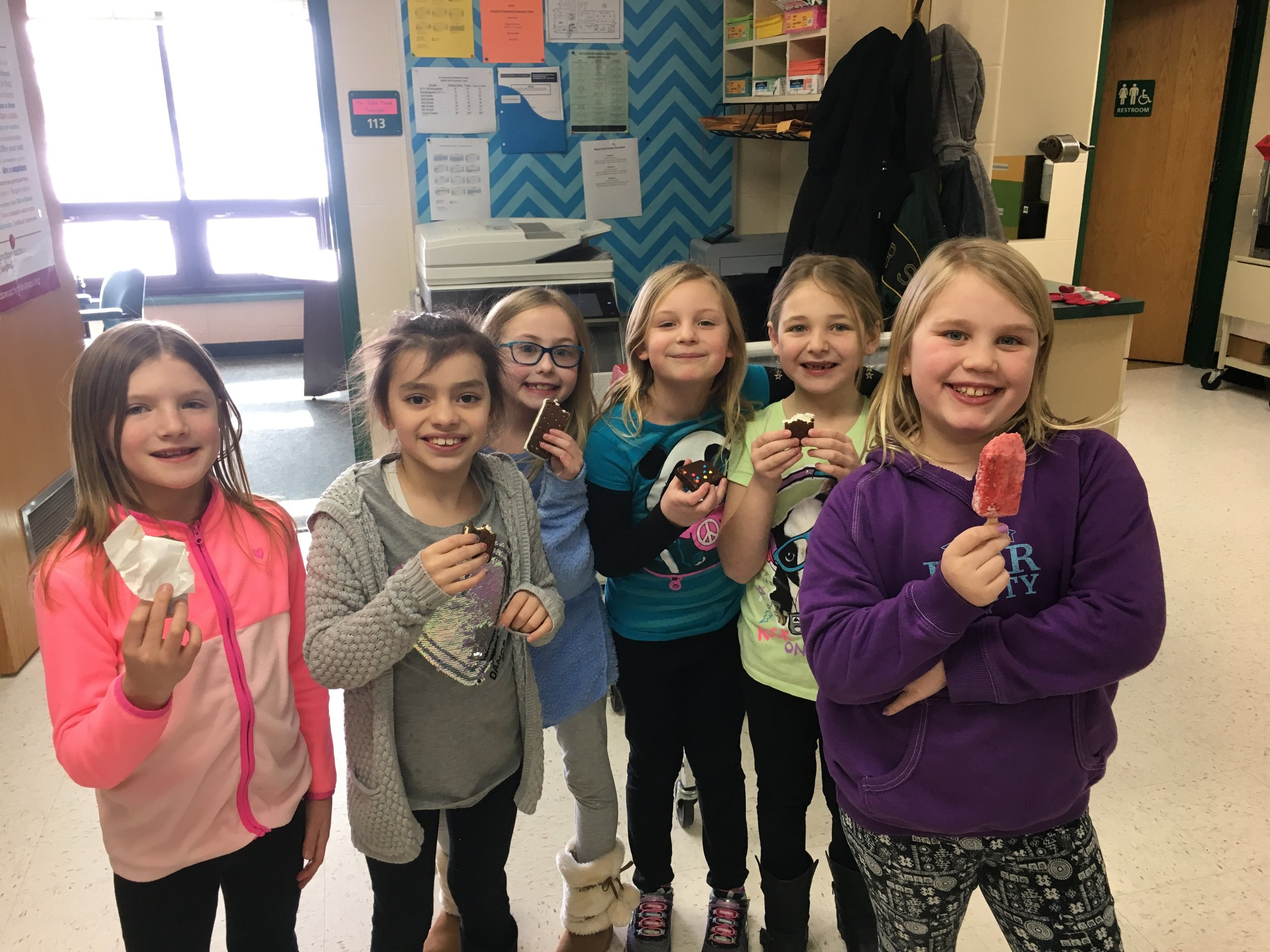 """PBIS """"Dessert with a Friend"""" Winners enjoying their treat in the office today!"""