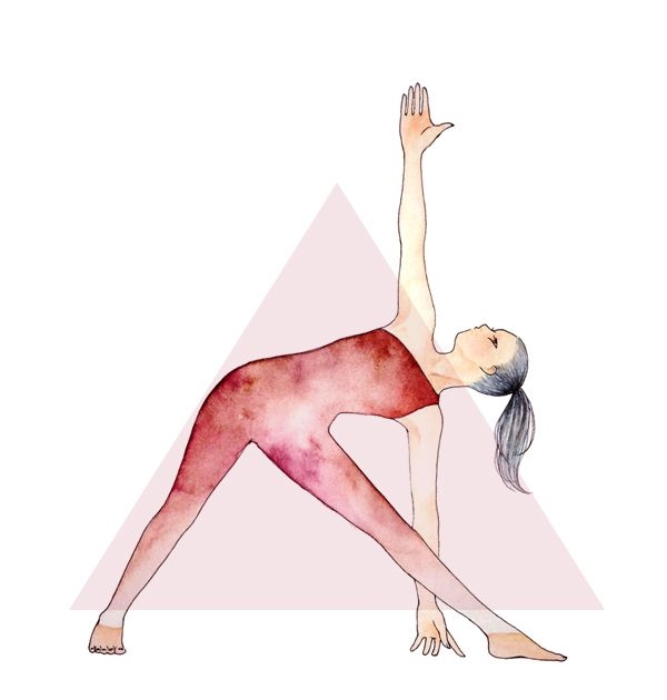 Triangle Pose:   Step your left foot back about 4 feet with foot at about 45 degree angle. Inhale arms up so they are parallel to the floor, gaze should be down the middle finger. Exhale bend front knee to 90 degree angle and then inhale your front leg straight again. Exhale extending body forward over right leg hinging at the hips. Place right hand on right leg, anywhere that is comfortable except the knee. Left hand is extended up towards the ceiling with gaze towards wall or up at left hand. Breathe here for 3 breaths. When done inhale body up and exhale step feet together at front of the mat.