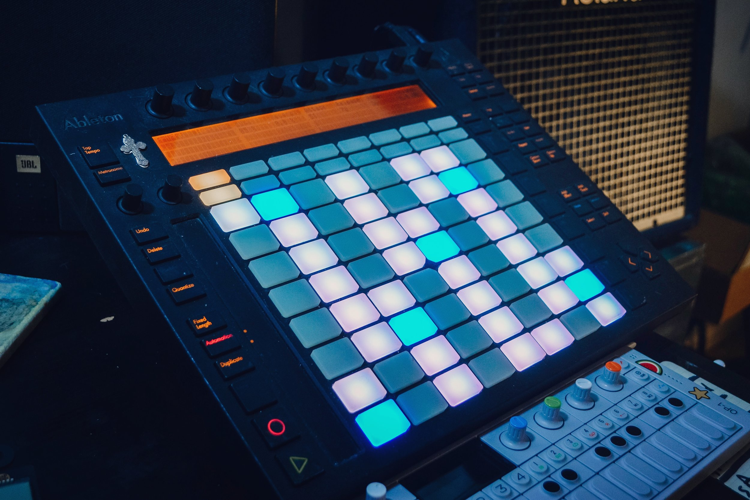 """This is my Ableton Push. - I bought this from Lucas Winkler a couple years ago. If I'm being honest, I am not super proficient with this thing. I'll go through brief seasons of committing to learn the ins and outs of Push, but it never lasts very long. It ends up just being a very user-friendly MIDI controller for me, since I'm pretty bad with a traditional keyboard.This picture of my Push is more just representative of Ableton Live. I love Ableton, and I think it plays a big part in shaping the songs I write. It's a big part of my """"rig."""" It influenced the arrangements of both """"Indiana"""" and """"Little Flock."""" .Some of my favorite songs on the new record started as 10-20 second guitar riffs recorded into Ableton. I pushed and manipulated those snippets in multiple directions to see what felt right. These kinds of arrangements always turn out different than I would have expected if I wrote them the"""