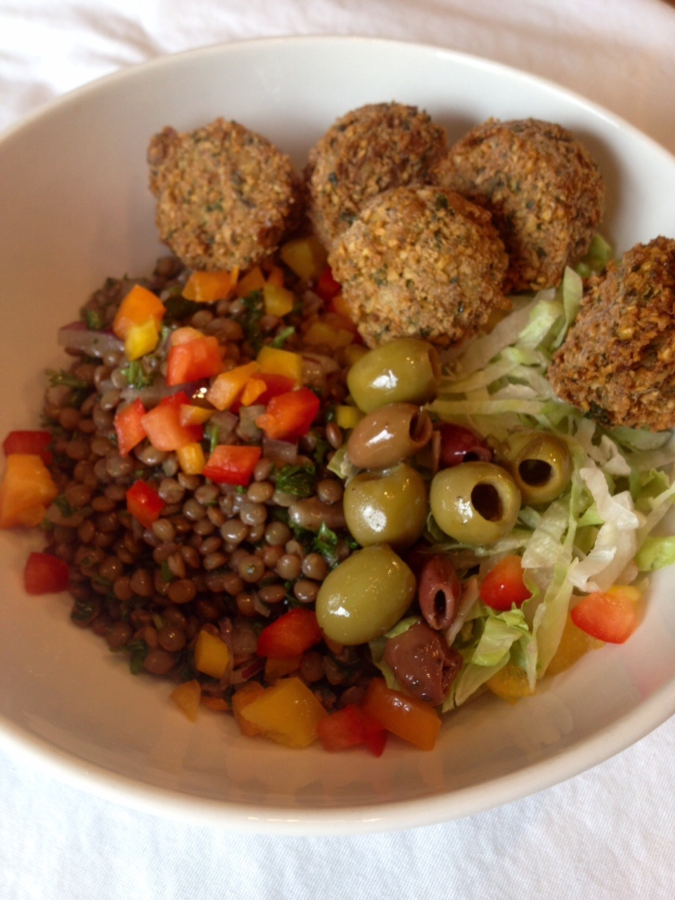 Lentil and Falafel bowl