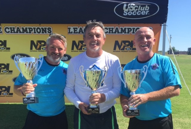 CITY FC Directors, Antony Penna (Storm FC), Paddy Gallagher and Paul Gallagher (Odyssey SC) with the NPL South Central Championship Trophies. Nationals will be played in Aurora, Colorado in July 2016. This years regional Final 4 is taking place in Houston, June 2017.