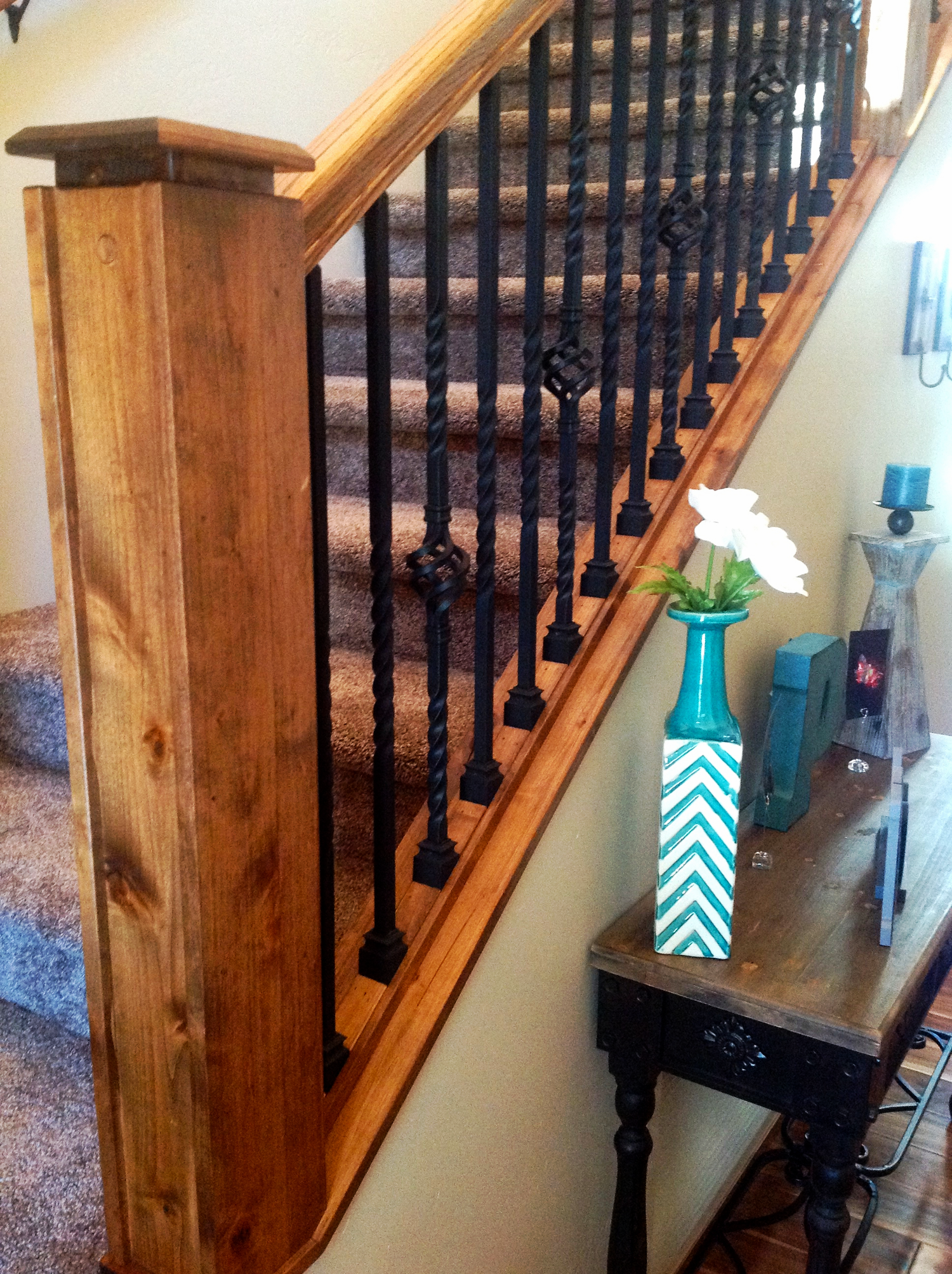 Custom stained/lacquered railing