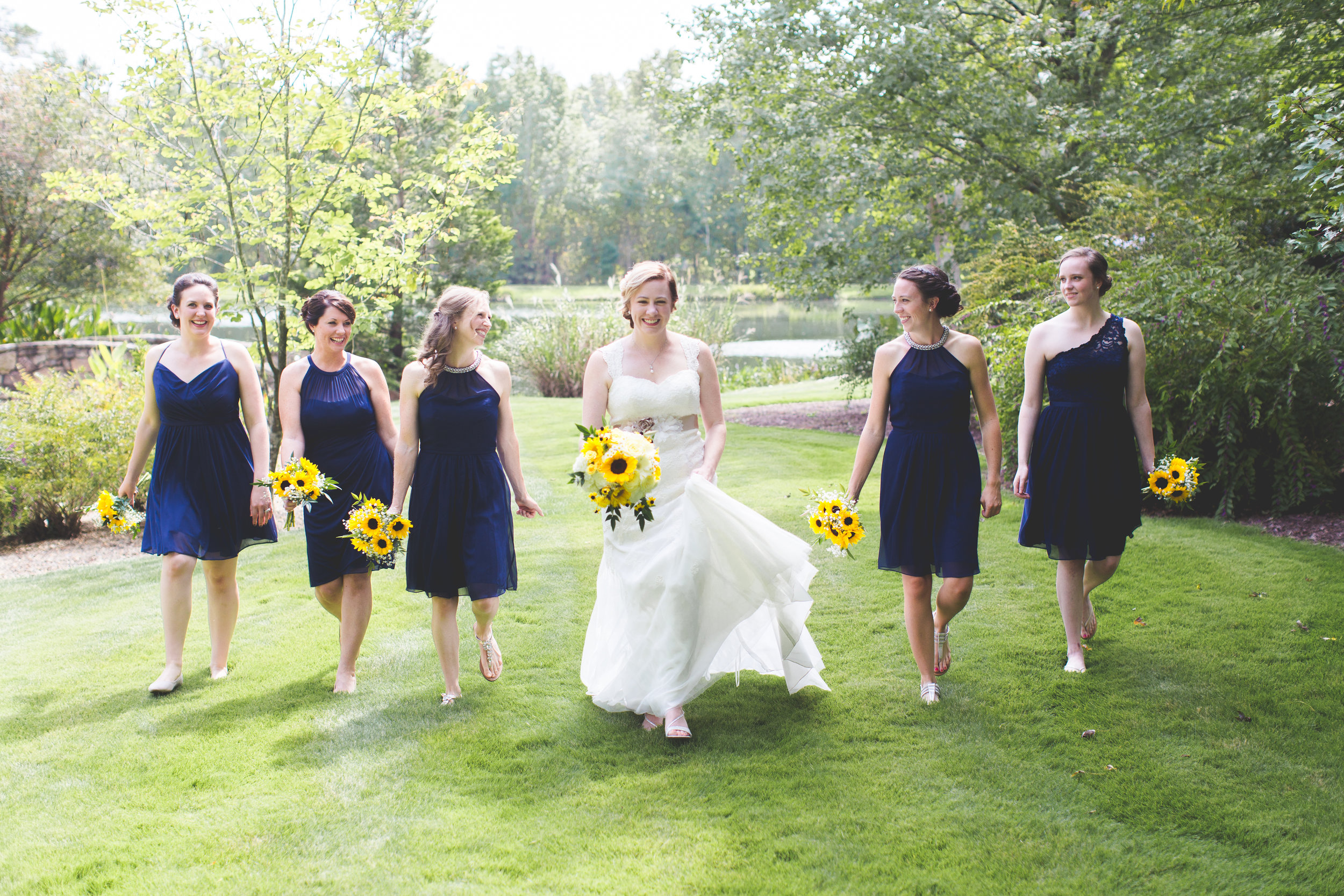 Copy of Navy bridesmaids on the lawn