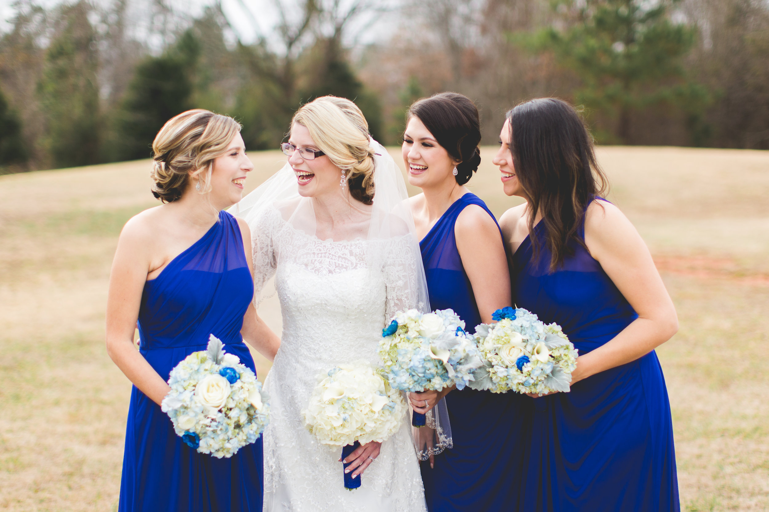 Royal Blue Winter Bridesmaids
