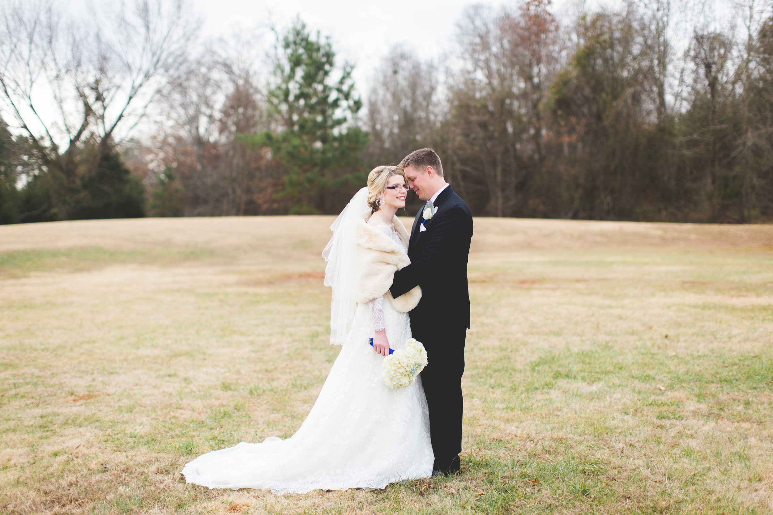 Winter Christmas Bride and Groom Portraits