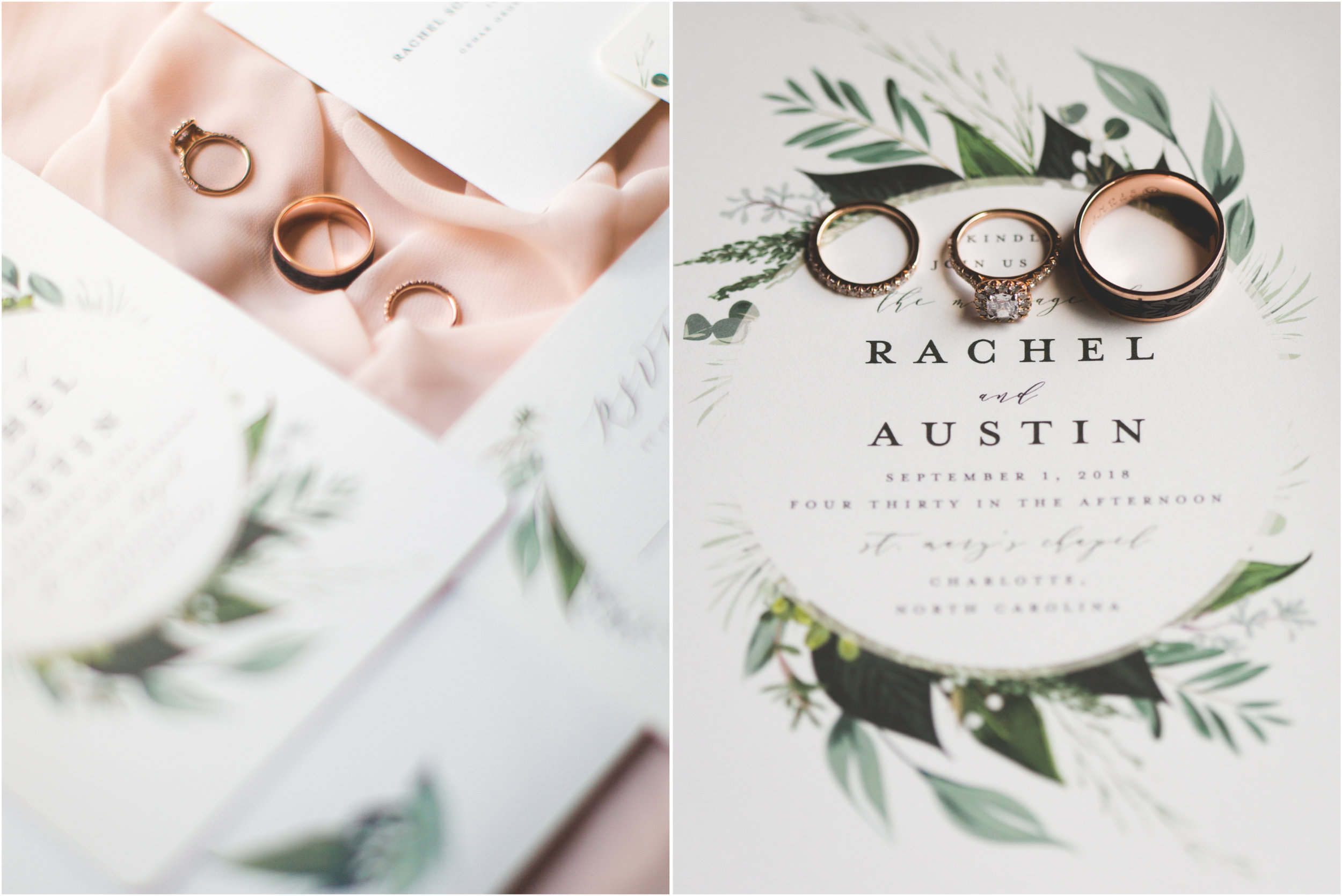 green and blush invitation suite