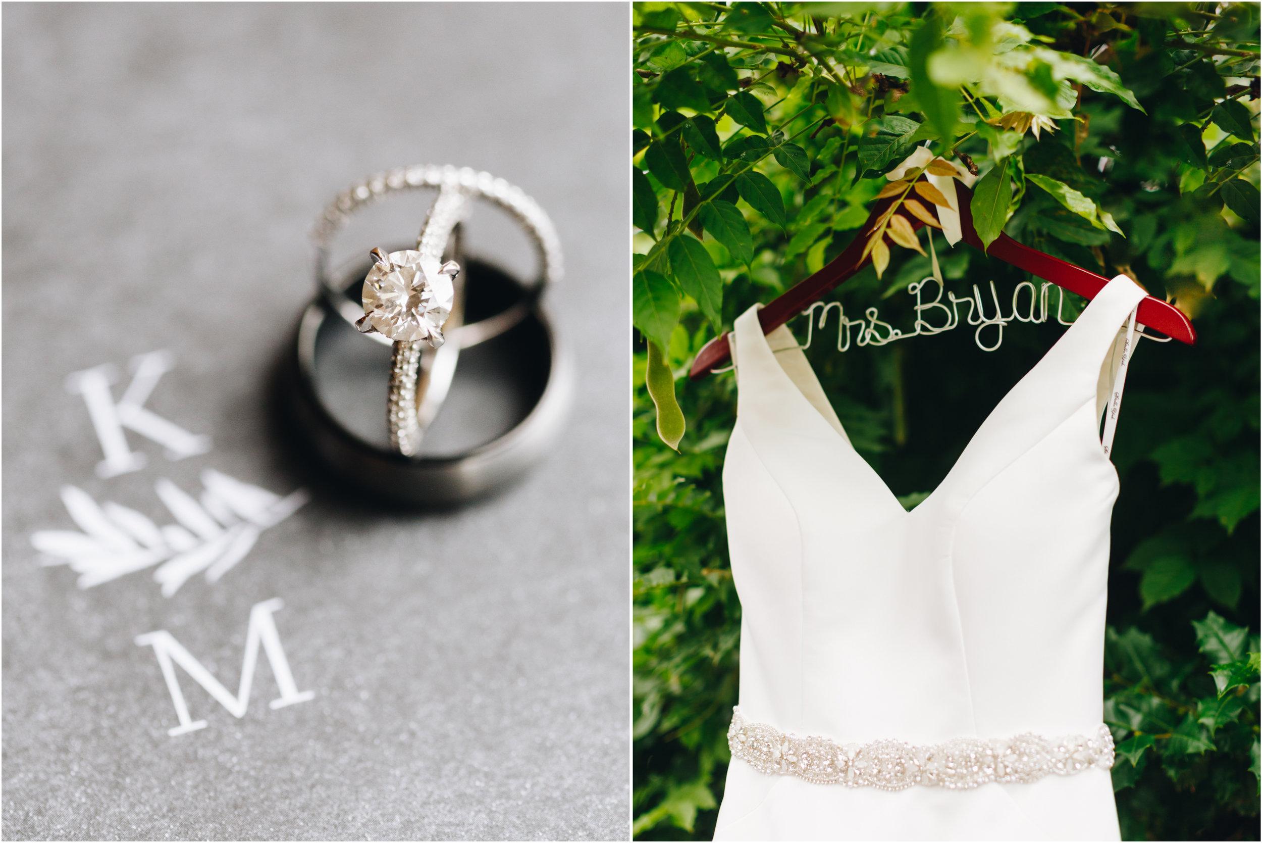 Wedding details, wedding rings, wedding hanger