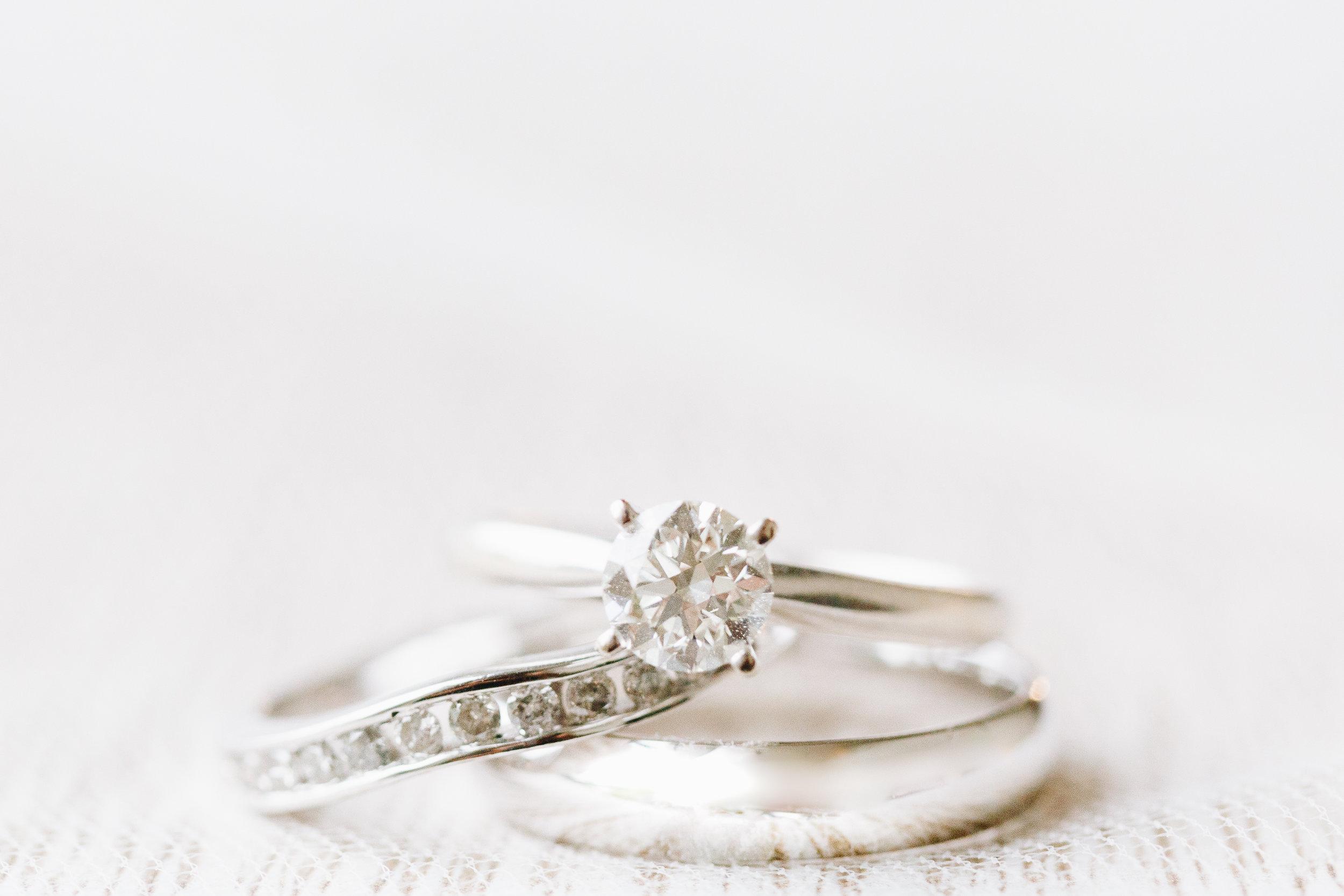 White Gold simple wedding ring set