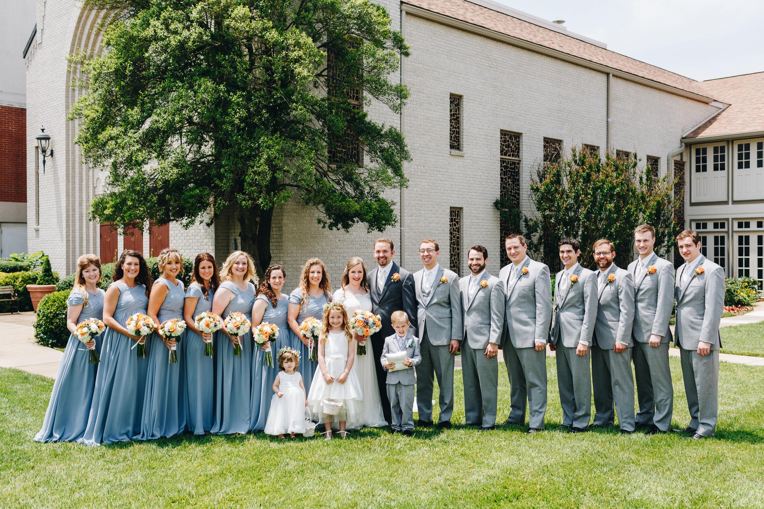 large wedding party portraits