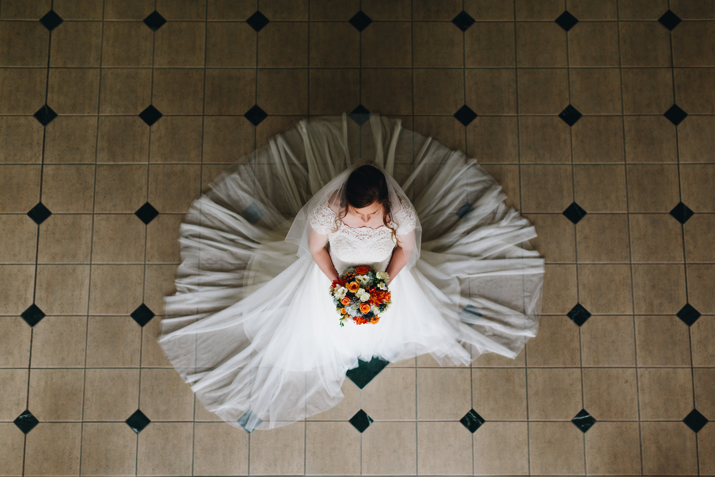 Moody Bridal Portrait with black and white tile