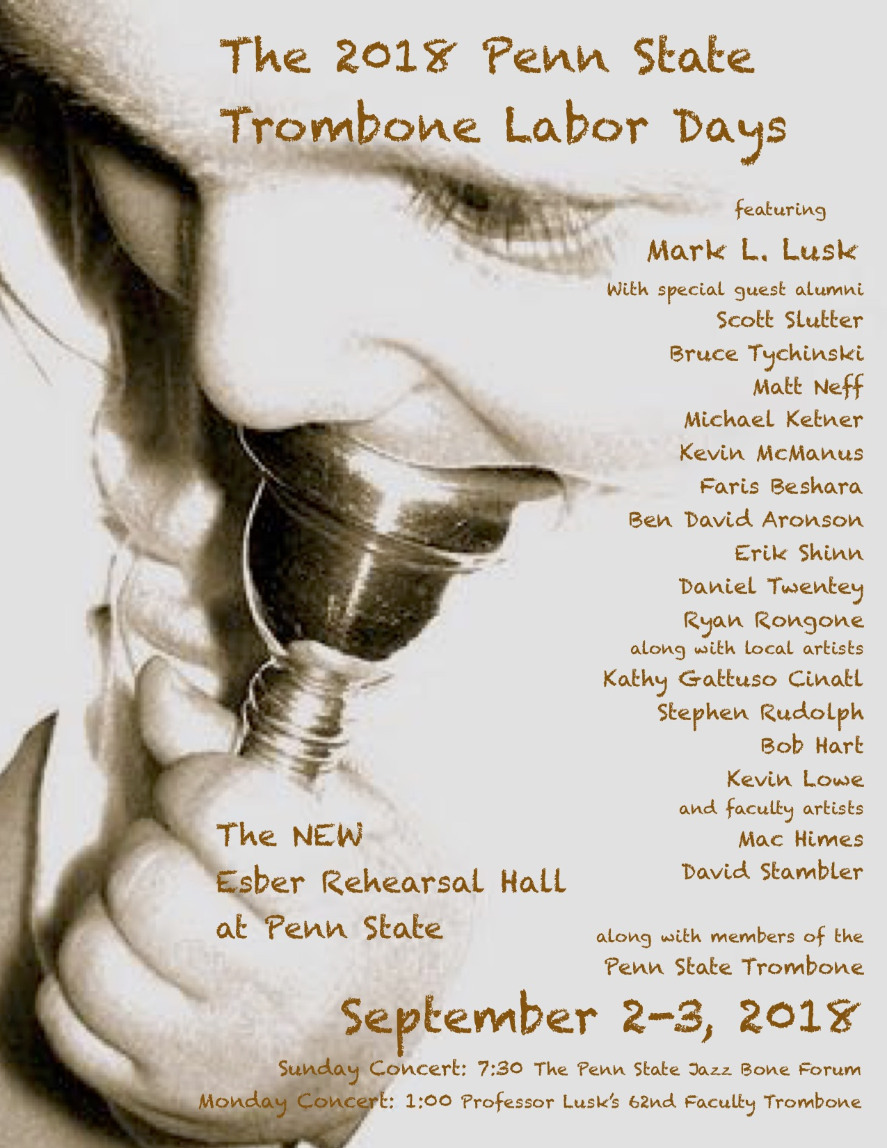 The 2018 Penn State Trombone Labor Days Poster