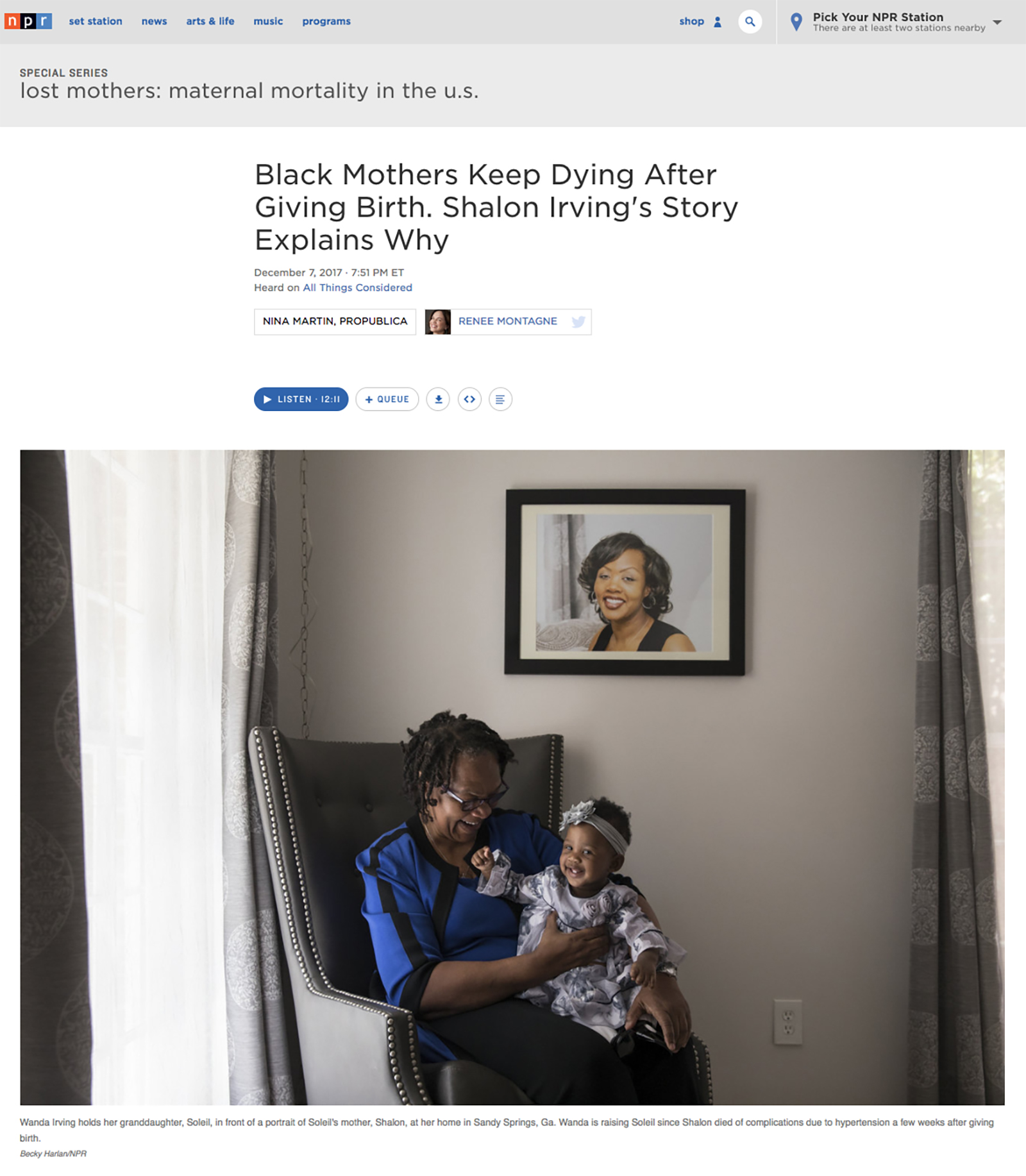 For the full series on npr.org  click here.  The ProPublica/NPR collaboration was  a finalist for the 2018 Pulitzer Prize for Explanatory Reporting.