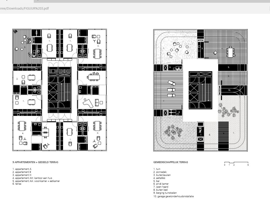 Plattegrond: Gemeenschappelijke dakterrassen Holon House. © OJO/ Office Jarrik Ouburg en FreyH.