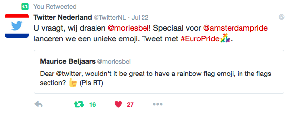 Tweet from Twitter at the release of the #EuroPride rainbow flag emoji on July 22, 2016