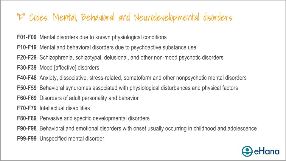 """F"" Codes for Mental, Behavioral. and Neurodevelopmental disorders"