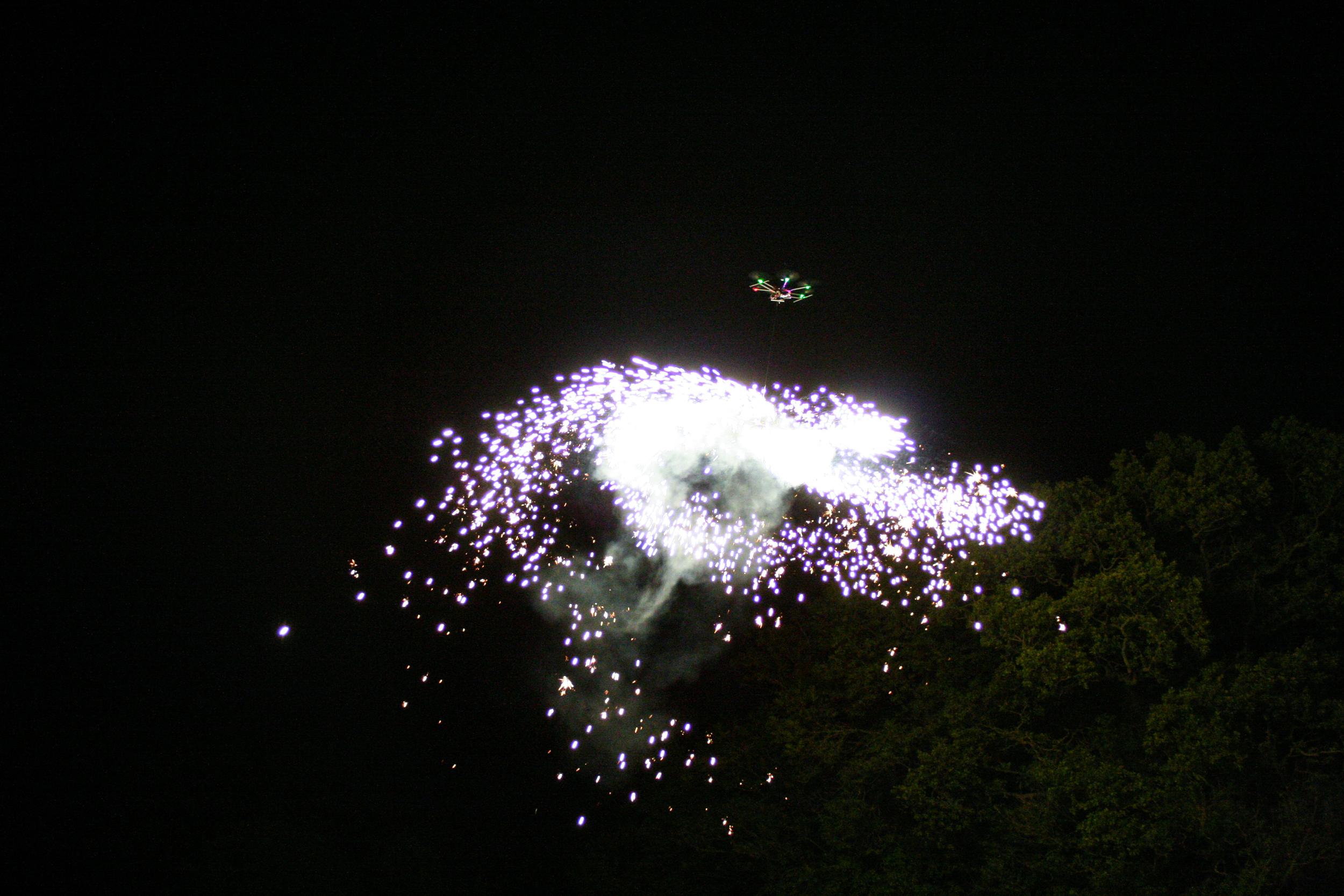 Pyrotechnic test flight