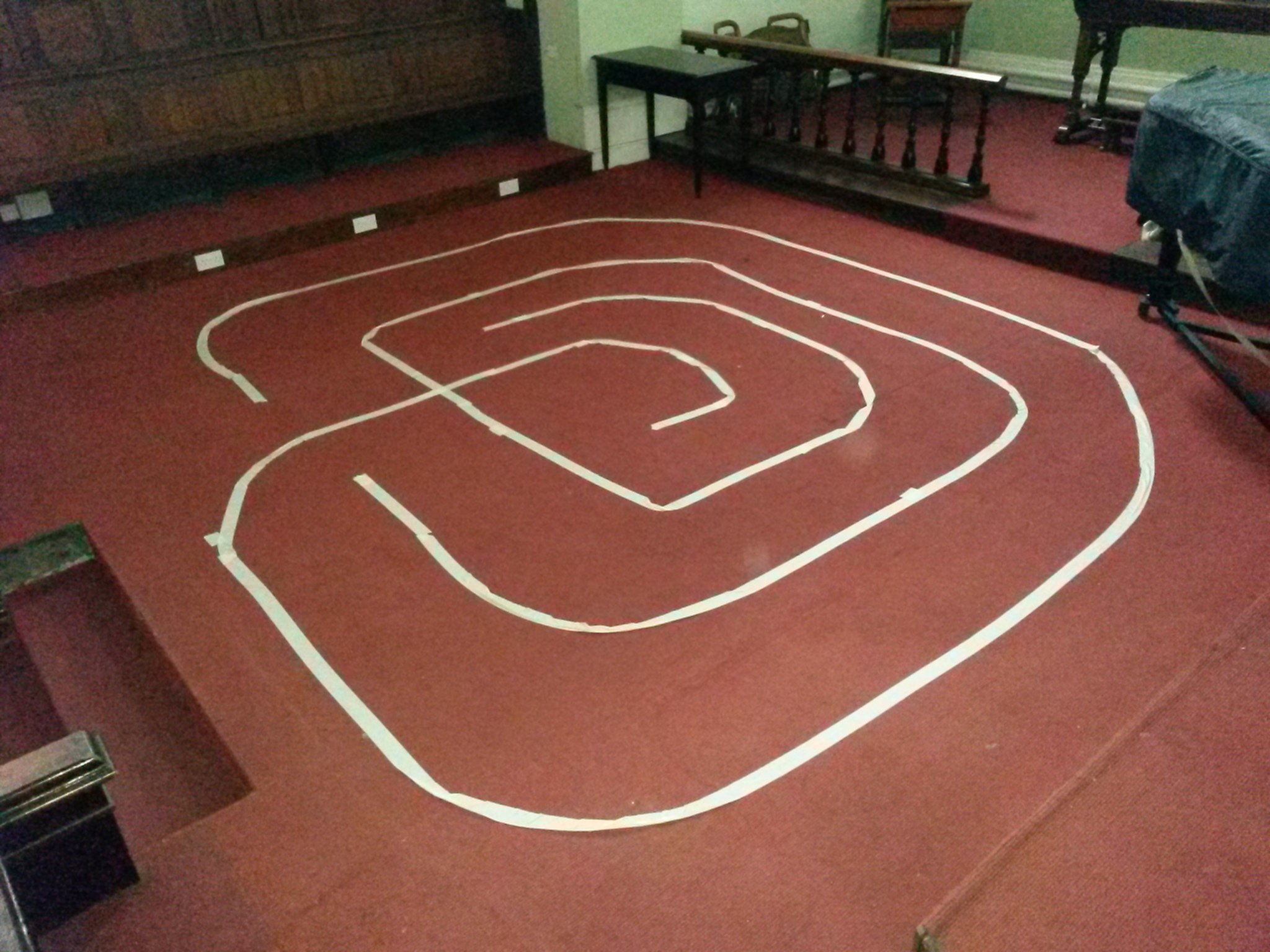 A temporary labyrinth in our sanctuary