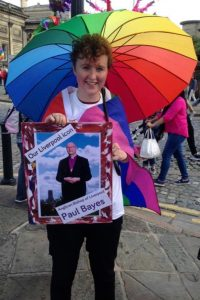 Jen carrying our Liverpool icon, Anglican Bishop of Liverpool Paul Bayes, at Pride on Saturday 30th July
