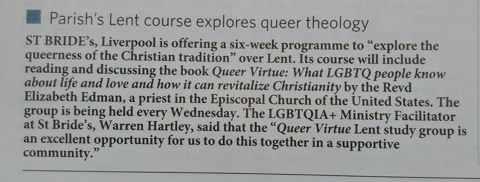 Our Lent course was reported on page 8 of the Church Times, which describes itself as 'the world's leading Anglican newspaper', on Friday 23rd February 2018, which led to this response on Twitter: