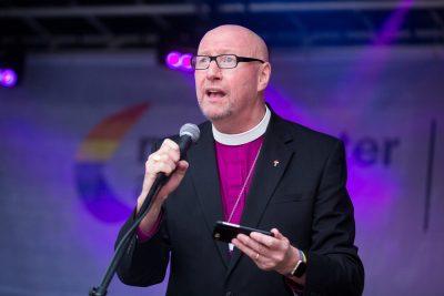 Bishop of Liverpool, Rt Revd Paul Bayes speaking at Liverpool Pride, July 2017