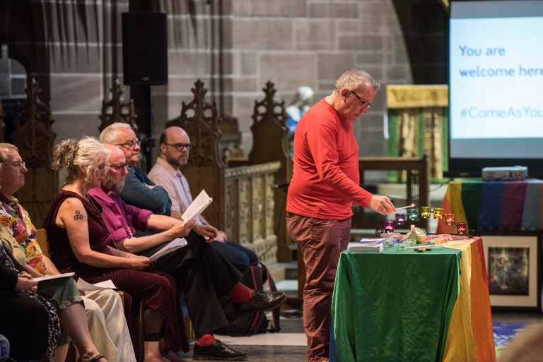 Remembering Michael Causer, his family and his legacy at the Post-Pride service in the Lady Chapel of Liverpool Cathedral, Sunday 29th July 2018, attended by the Bishop of Liverpool.