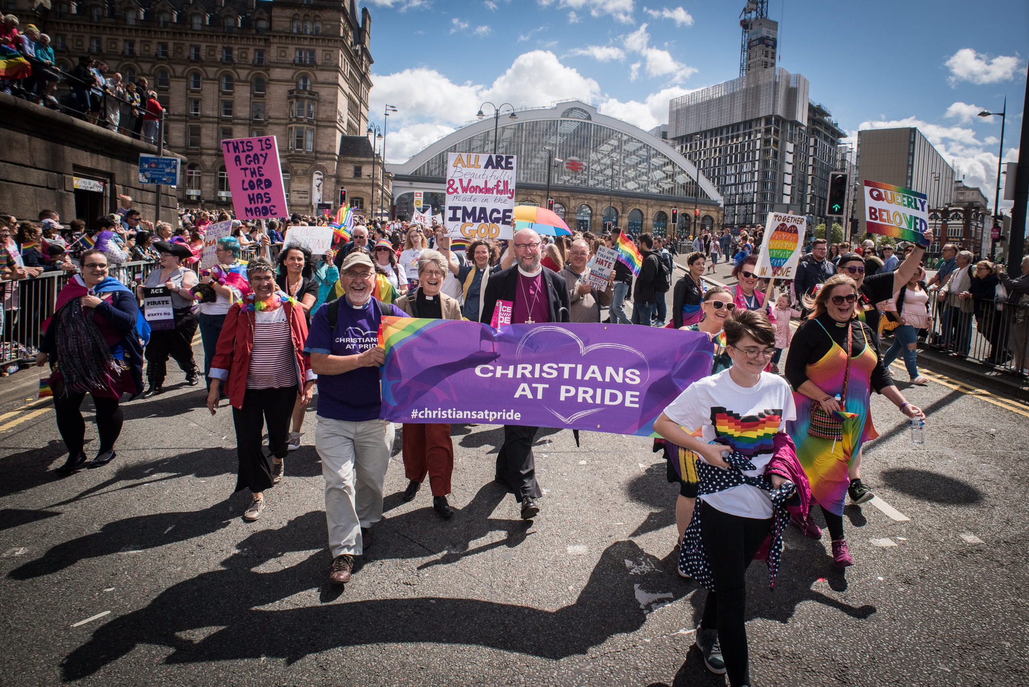 Christians at Pride marching in Liverpool July 2018 CREDIT: Mark Loudon