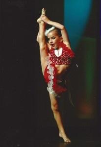 Gia holding her leg up Lovey Dovey 2012.jpg