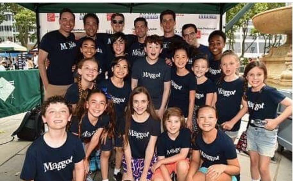 Media pose for cast of Matilda Broadway at Bryant Park 2016.JPG