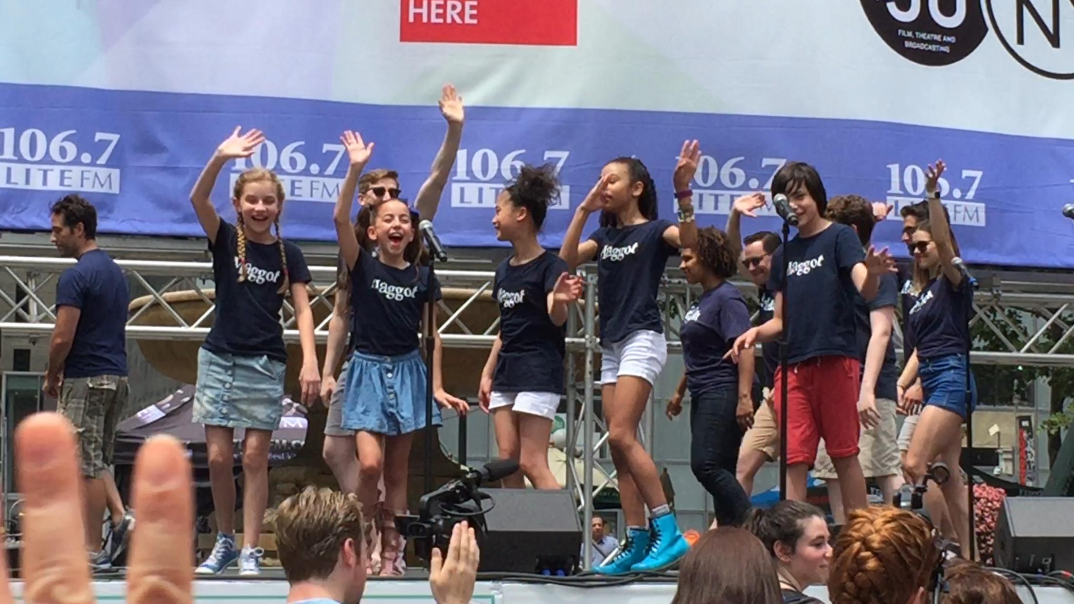 Matilda Maggots waving to the crowd at Broadway at Bryant Park 2016.PNG