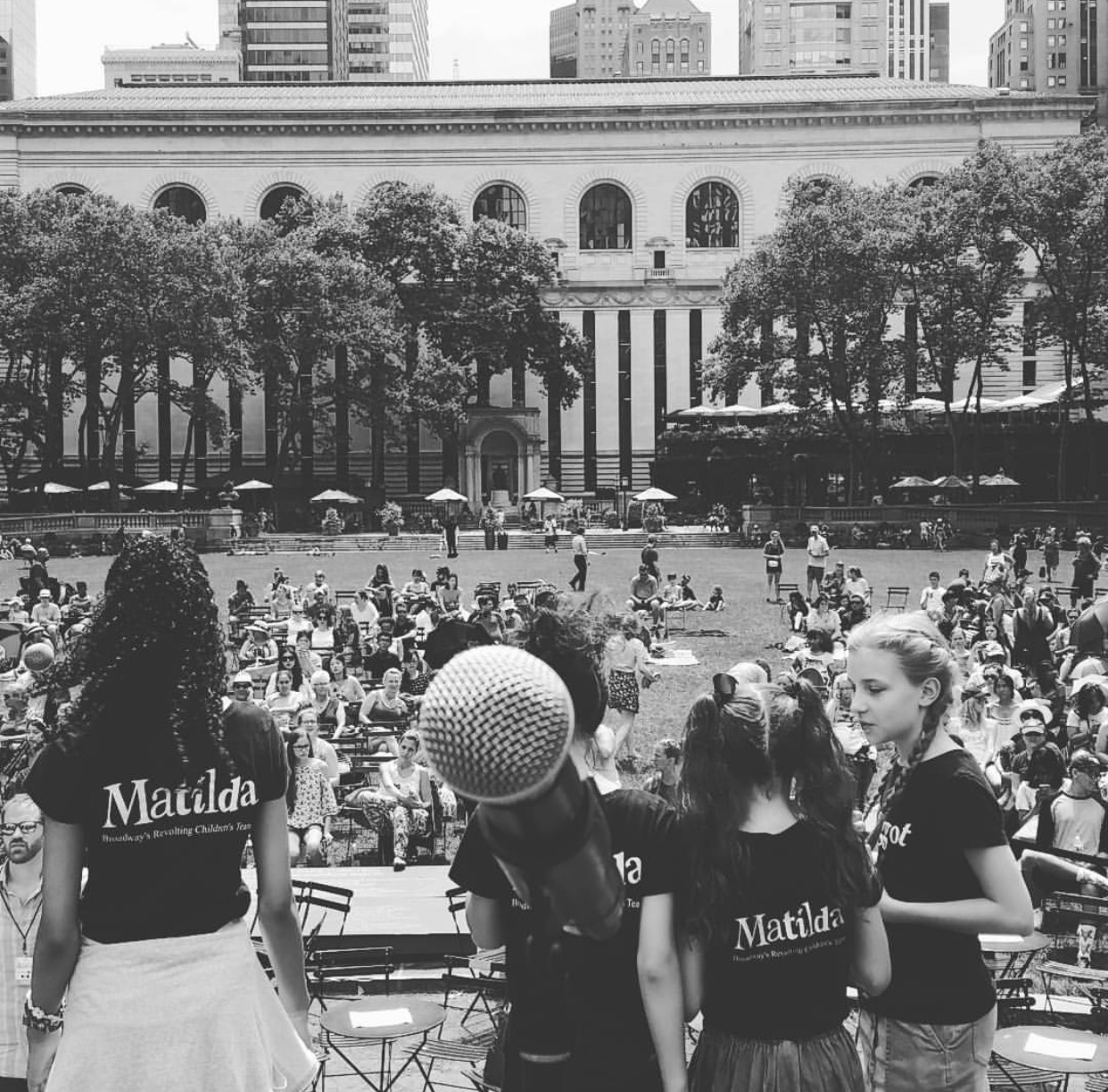 Black and white from on stage pic  Broadway at Bryant Park 2016.jpg