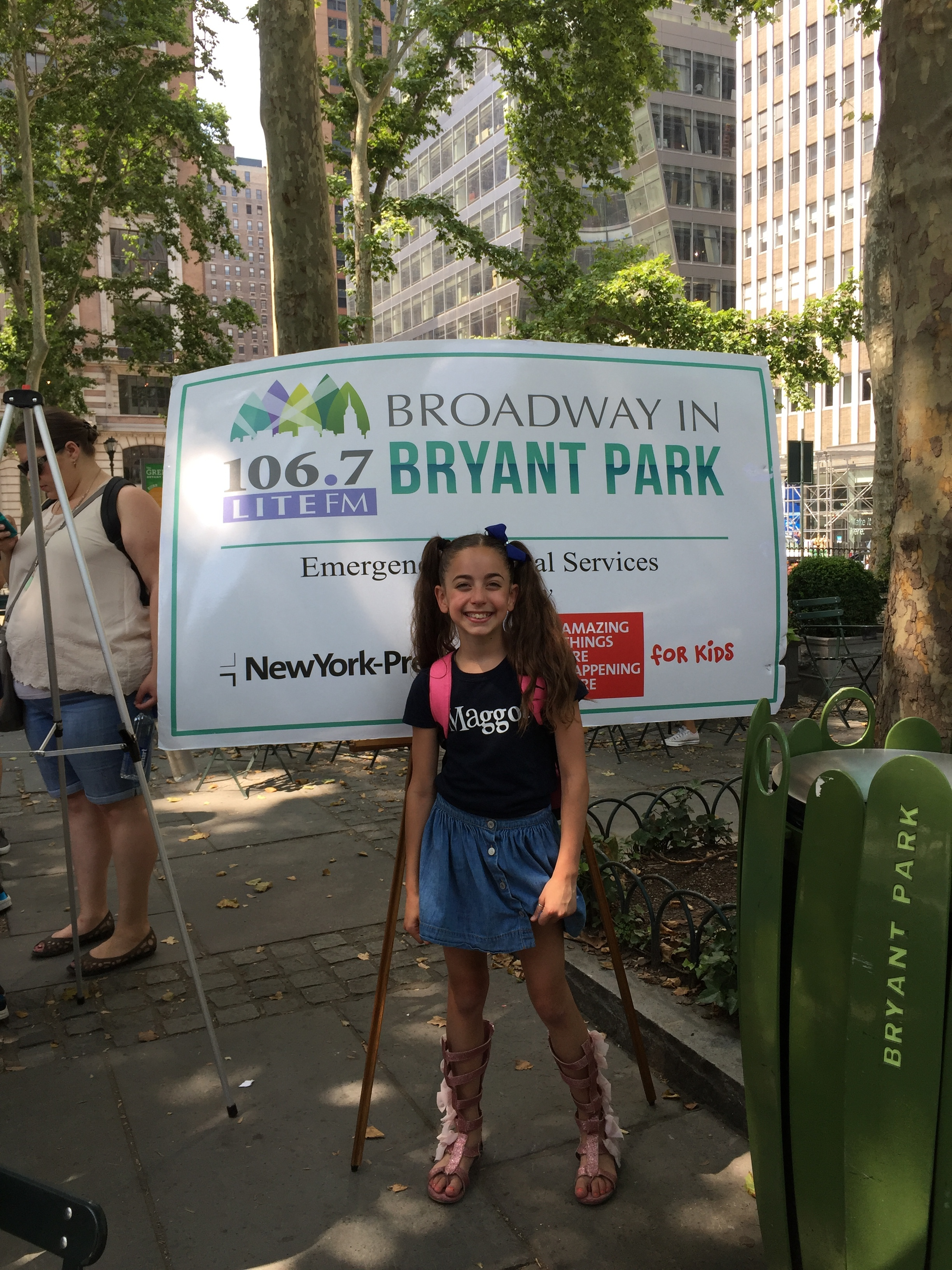 Gia in front o fthe sign  Broadway at Bryant Park 2016.JPG