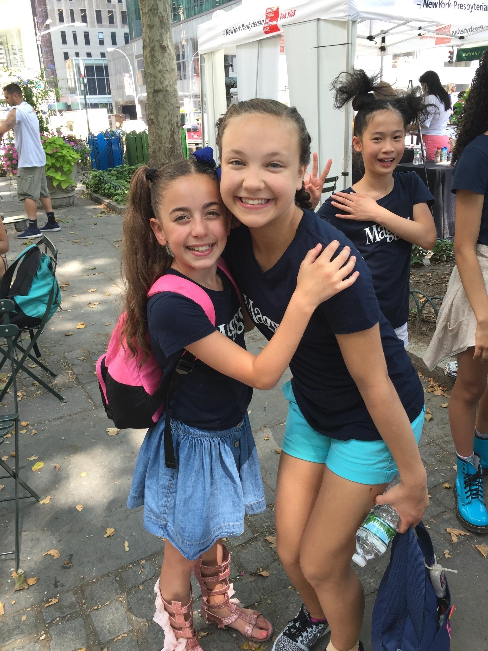 Gia and Katie at Broadway at Bryant Park 2016.JPG