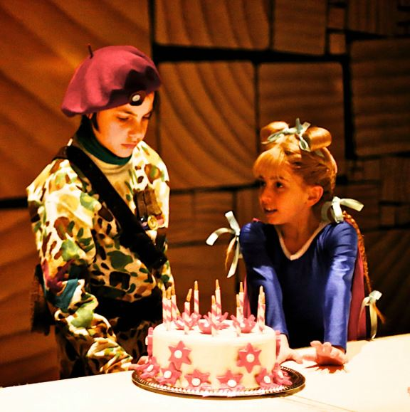 GiaNina and Cole behind table with cake before show.JPG