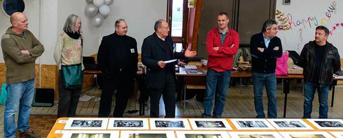 De gauche à droite  : Elie Dhuisme (commissaire) - MarieLine Bonneau (juge) - Thierry Chériot (juge) - Bernard Rochet (président UR07) -  Cédric Jachimowiez (juge) - Jacques Martinet (maire) - Jean-Guy Roy (président O2)