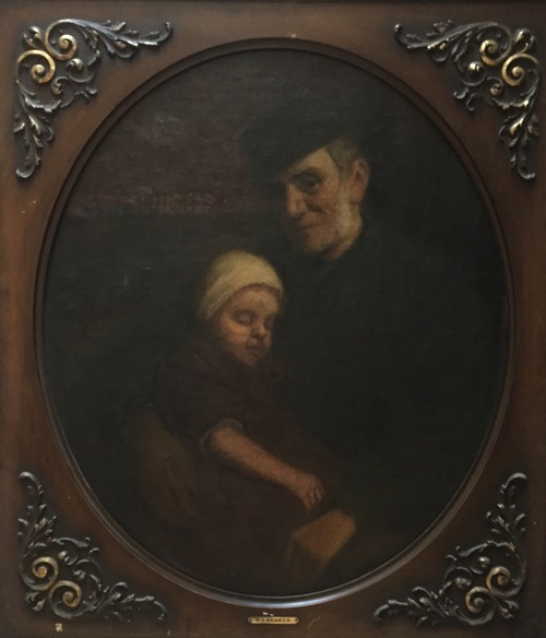 Old Man and Sleeping Child, by Wilbur A. Reasor 1860-1942