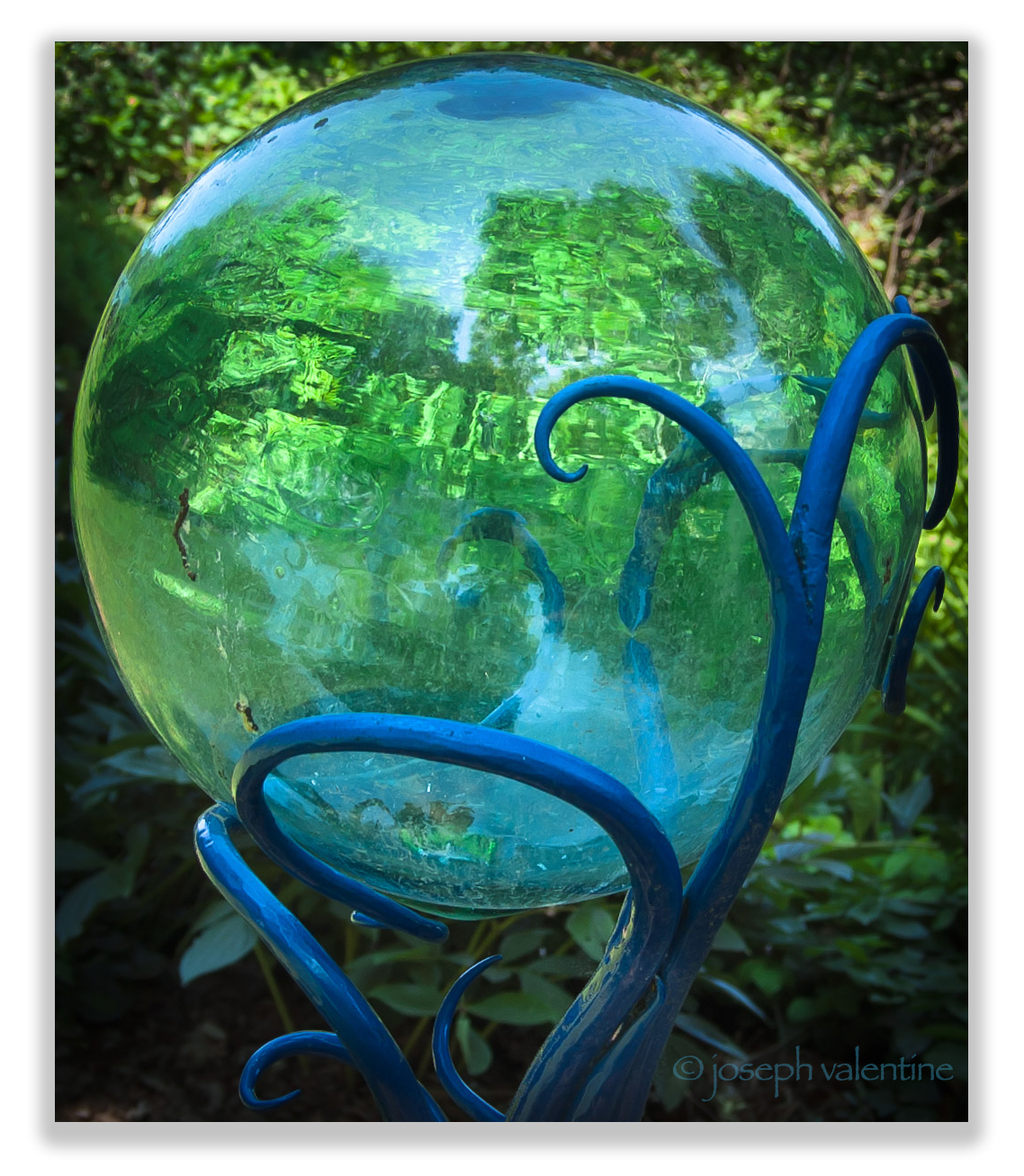 This glass reflecting ball at Bedrock Gardens in Lee, New Hampshire is doing its job!