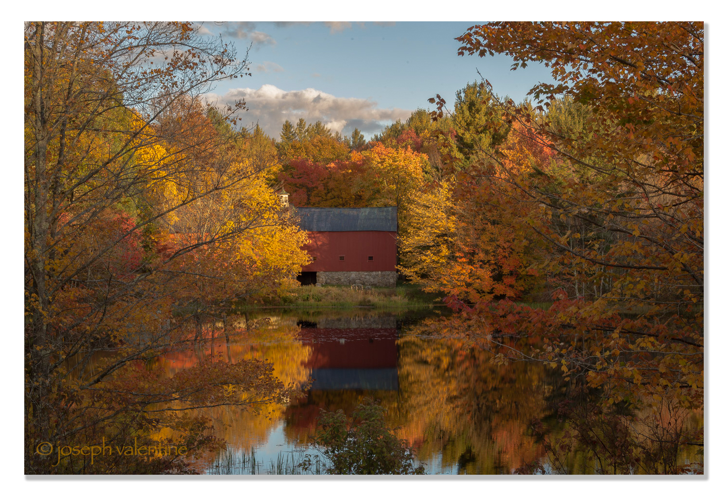 Red Barn on The Water at Sunset, Hancock, New Hampshire