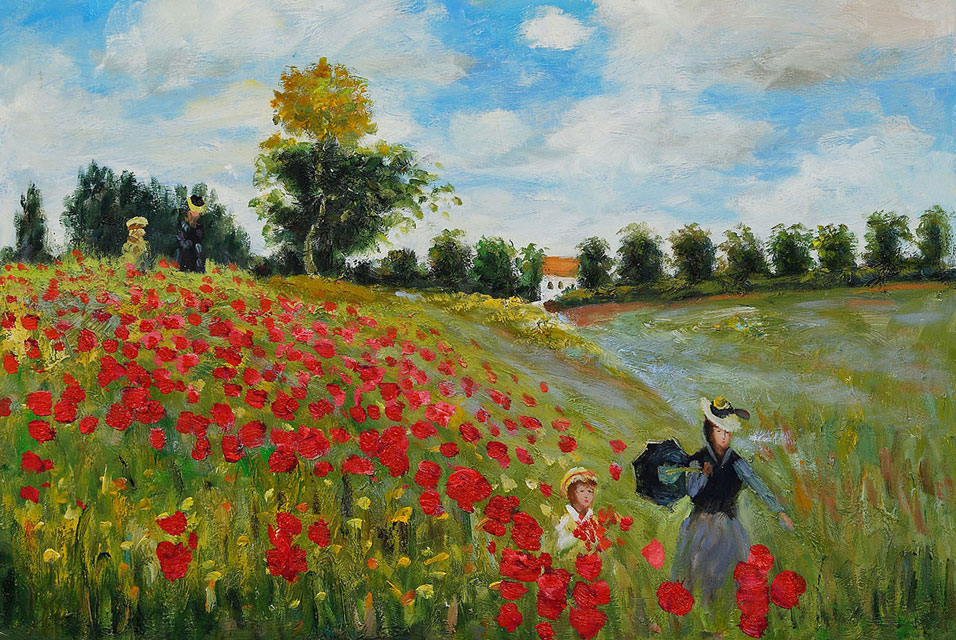 Claude Monet, Poppy Field in Argenteuil, Oil on canvas. Click on image to enlarge.