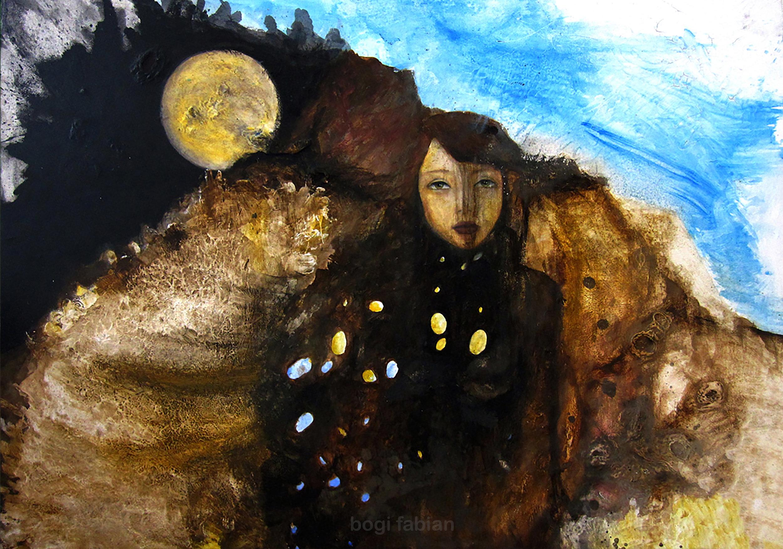 """""""FISRT FULL MOON"""" 2011 / Oil on wood 140 x 80 cm SOLD"""