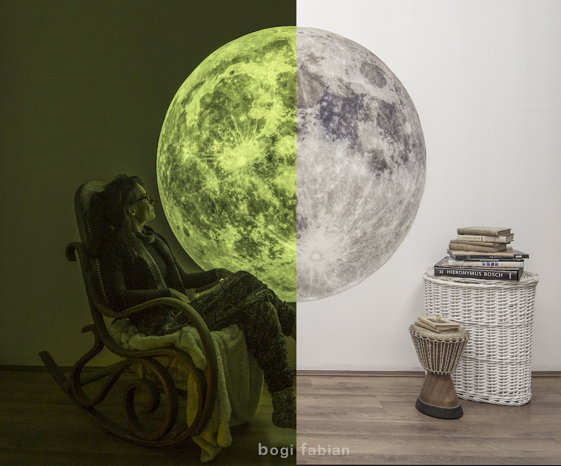 The future of Printing is Multiluminous Glow In The Dark Prints by Bogi Fabian Hubble Telescope glowing canvas print Moon Luna Hold Moonprint