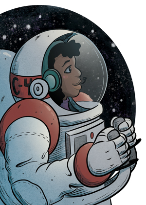 """Illustration preview from """"Have Spacesuit, Will Travel"""" by Curtis C. Chen."""