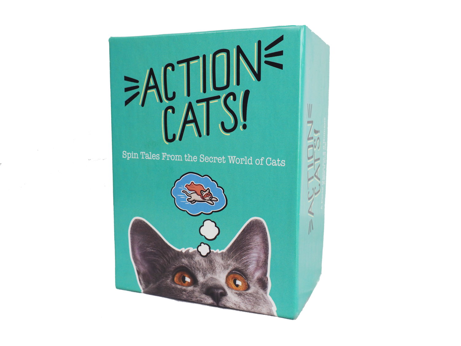 Action Cats!  A party game for 2-6 humans where you spin tales about the secret life of cats. It's fast, fun, and family friendly.     Available from Twogether Studios !   Package and card designs/illustrations by me!