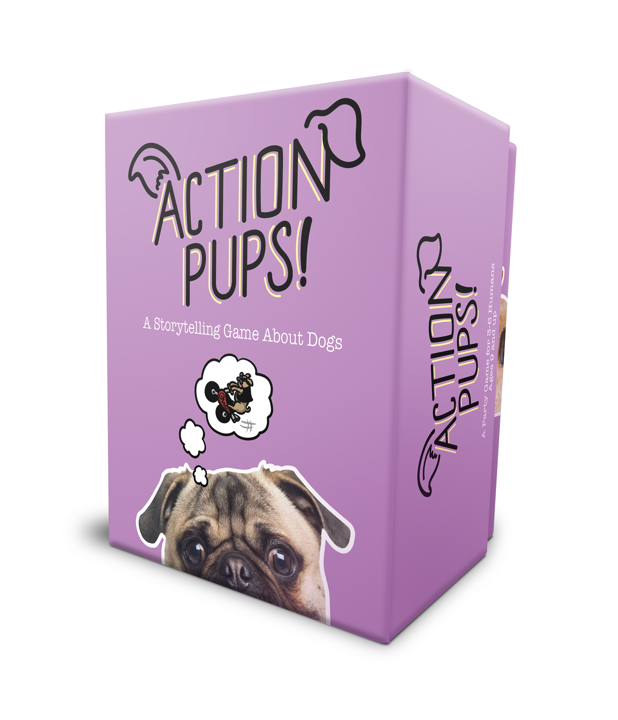 Action Pups!   A stand-alone storytelling party game about the secret lives of dogs. This the next installment of the Action Cats! game.  The Kickstarter is now LIVE!